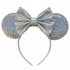 Minnie Mouse Silver Sequin Headband with Bow